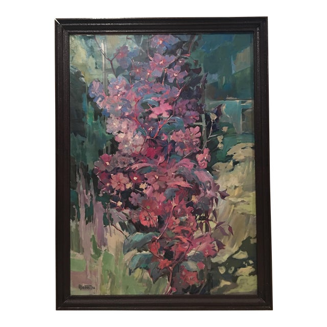 """Clematis"" Flowers Original Oil Painting by Jan Matras For Sale"