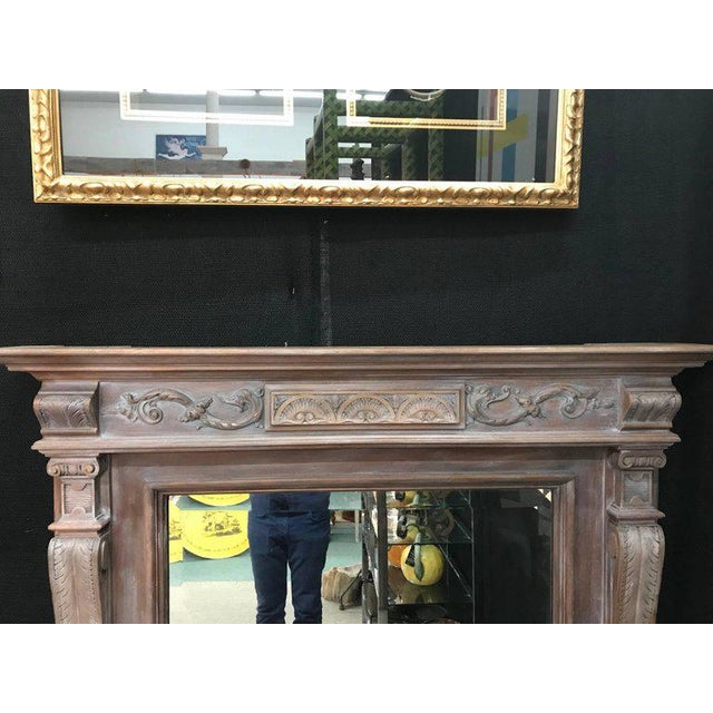19th Century Antique Neoclassical Style French Limed Wood Beveled Mirror For Sale In Houston - Image 6 of 7
