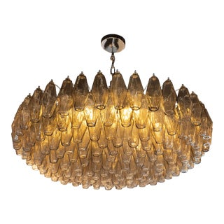 Modernist Smoked Topaz Chandelier With Chrome Fittings, in the Manner of Venini For Sale