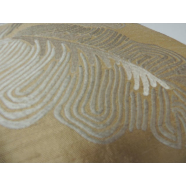 """Pair of Golden Silk Embroidery """"Royal Palm"""" Silk Decorative Pillows For Sale In Miami - Image 6 of 7"""