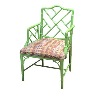 Mid-Century Chinese Chippendale-Style Kelly Green Faux Bamboo Chair
