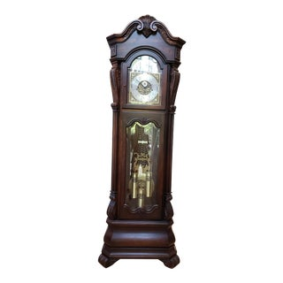 Sleigh Cherry 9 Tube Tall Case Grandfather Clock For Sale
