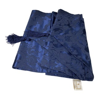 Vintage Waterford Navy Damask Table Runner For Sale