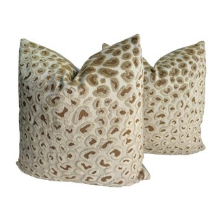 Lee Jofa - Lancelot Gold and Tan Velvet Leopard Pillows - a Pair For Sale