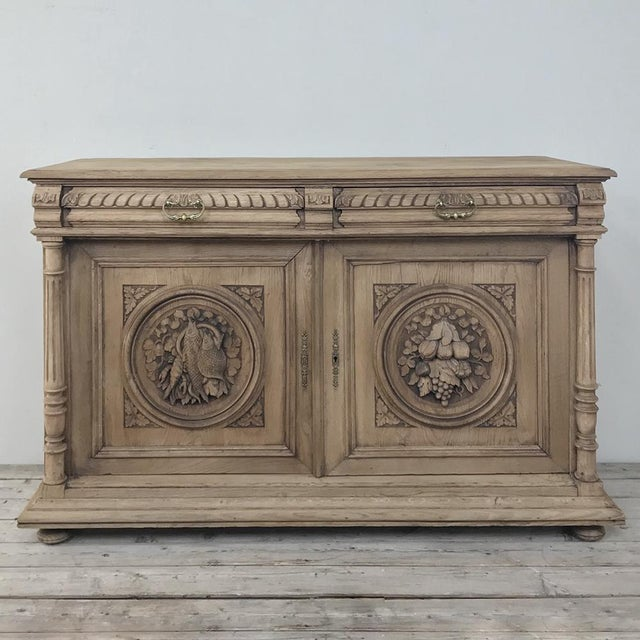 19th Century French Renaissance Stripped Oak Buffet For Sale - Image 4 of 13