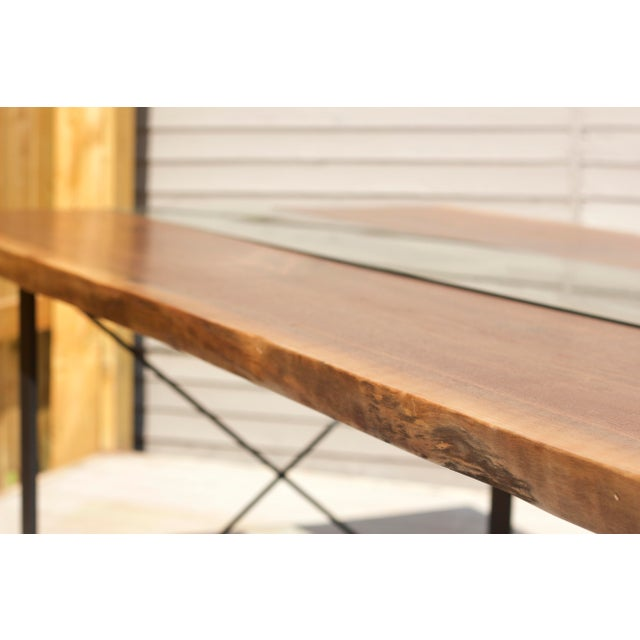 Claro Walnut Slab Dining Table With Solid Brass Inlays + Glass River Center Display For Sale - Image 6 of 11