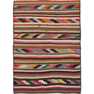 "Vintage Persian Flatweave Kilim Rug – Size: 3' 5"" X 4' 9"" For Sale"