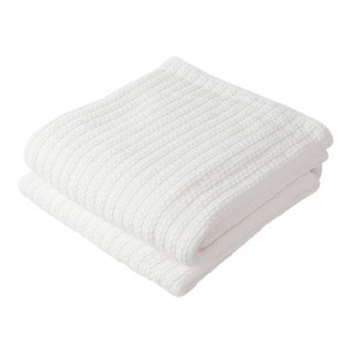 Contemporary Twin Bright White Cable Knit Blanket