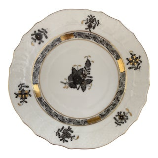 "Herend Black Chinese Bouquet 6"" Catchall Tray For Sale"