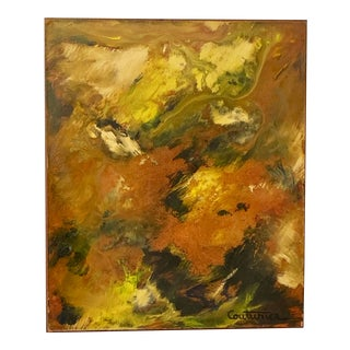 Rene Couturier Signed Vintage French Abstract Expressionist Oil 1960s For Sale