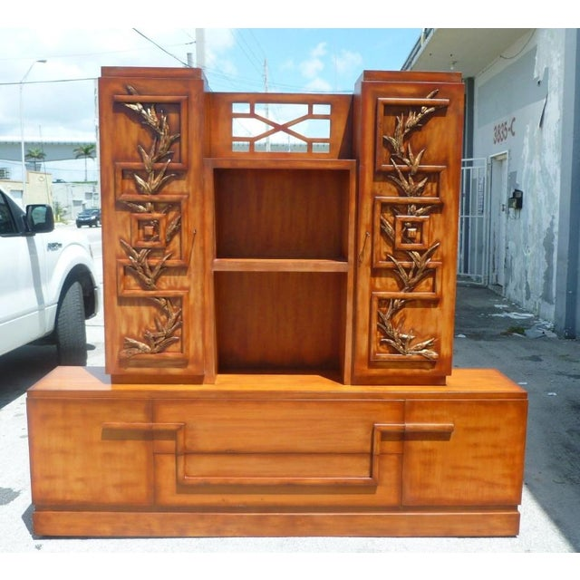 50's Hollywood Regency James Mont Coromandel Red Cabinet For Sale - Image 11 of 11
