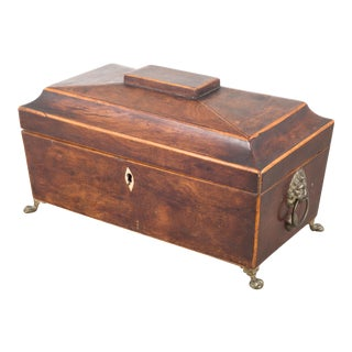 Regency (English) Period Rosewood Sarcophagus Form Tea Caddy C.1820 For Sale
