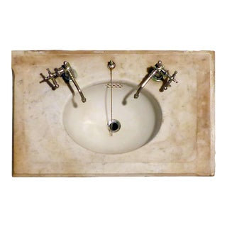 Late 19th Century Marble Top Undermount Sink With Original Nickel Plated Brass Faucets For Sale