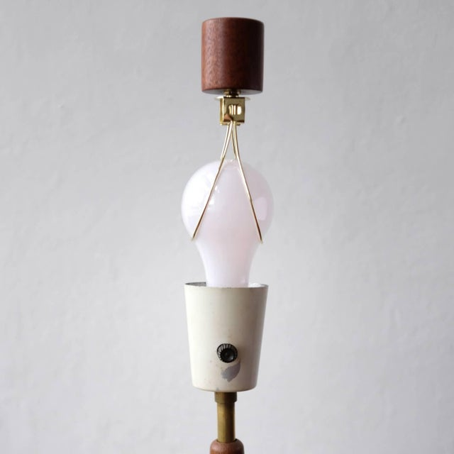 Gold Walnut and Brass Gerald Thurston Adjustable Height Lamps For Sale - Image 8 of 10