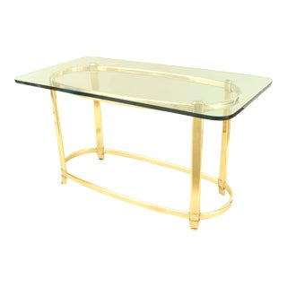 American Art Deco Brass and Glass Dining Table For Sale