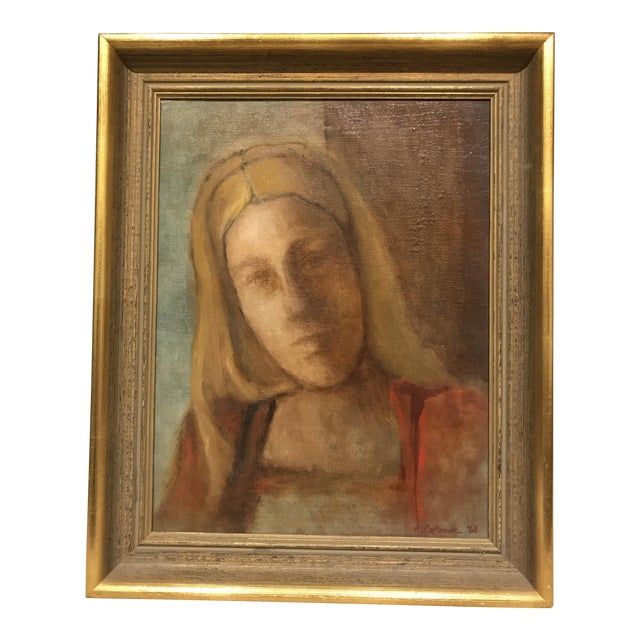 Mid-Century Lady Portrait Oil Painting - Image 1 of 6