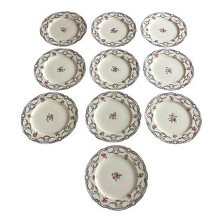 Antique Minton Pink Roses Dinner Plates - Set of 10 For Sale