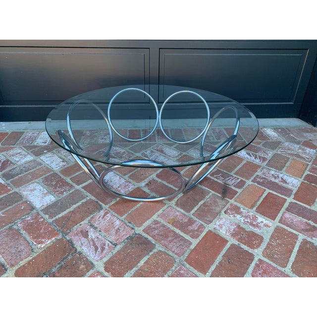 1970's Industrial Chrome and Glass Coffee Table For Sale In Los Angeles - Image 6 of 6