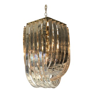 Lucite & Brass Ribbon Chandelier For Sale