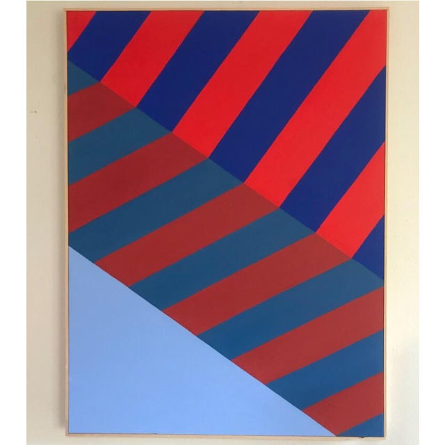 Original Abstract Hard Edge Op Art Painting on Canvas by J. Marquis For Sale In Portland, OR - Image 6 of 6