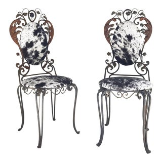 Vintage Speckled Brazilian Cowhide & Iron Garden Chairs- A Pair For Sale