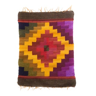 Peruvian Wall Hanging / Placemat in Gold, Plum, Raspberry For Sale