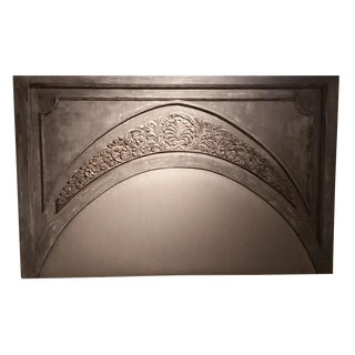 Gray Hand Carved Arch Headboard