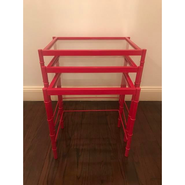 Red Lacqured Faux Bamboo Metal Nesting Tables - Set of 3 - Image 2 of 7