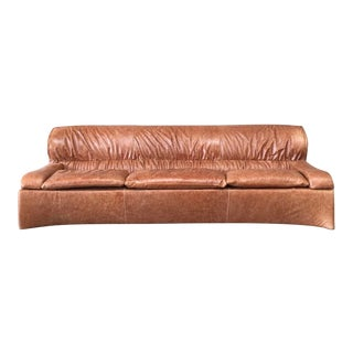 1970s Mid Century Modern Italian Saporiti Chestnut Leather Sofa