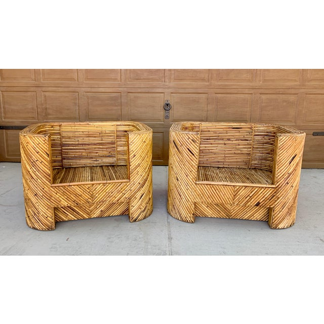 Boho Chic Stacked Bamboo Club Chairs and Ottoman in the Manor of Gabriella Crespi - Set of 3 For Sale - Image 3 of 10