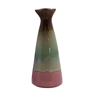 Contemporary Artist Handmade Multi Color Ceramic Odd Shape Vase For Sale