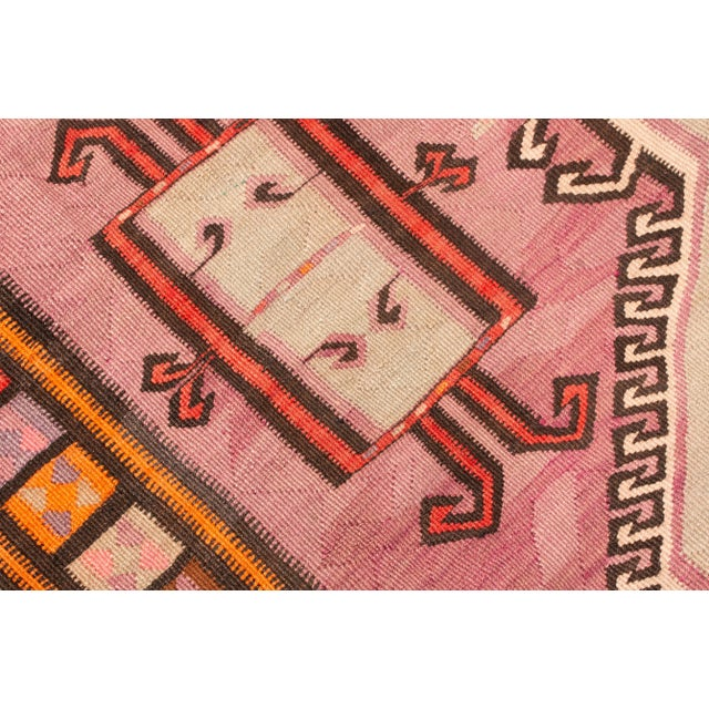 1920s Antique Kurdish Pink and Brown Wool Kilim With Mihrab Pattern - 5′1″ × 14′9″ For Sale - Image 5 of 8