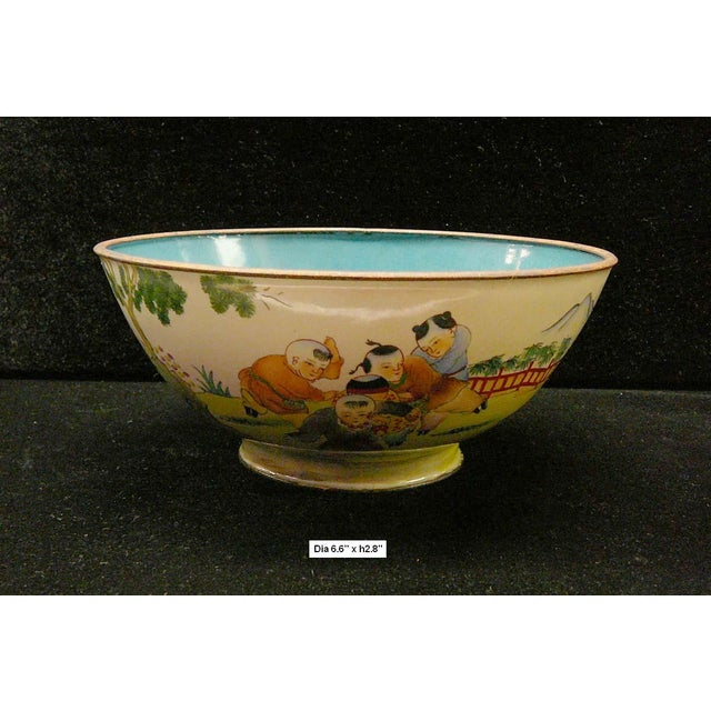 "This is a Chinese metal bowl with enamel color painted on the surface. The theme is kids playing. Dimensions: Dia 6.6"" x..."