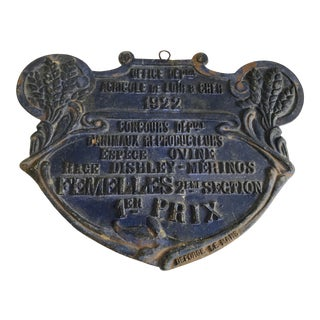 French Agricultural Trophy Plaque for Merinos Sheep, C.1922 For Sale