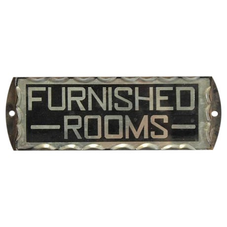 "1930's Vintage Reverse Glass Painted Sign ""Furnished Rooms"" For Sale"