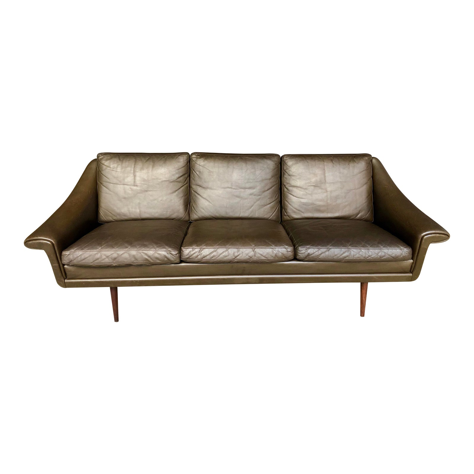 Mid Century Danish Modern Brown Leather Sofa Attr. To Svend Skipper - Three  Seat Couch Teak Legs