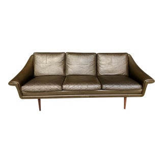 Mid Century Danish Modern Brown Leather Sofa Attr. To Svend Skipper - Three Seat Couch Teak Legs For Sale
