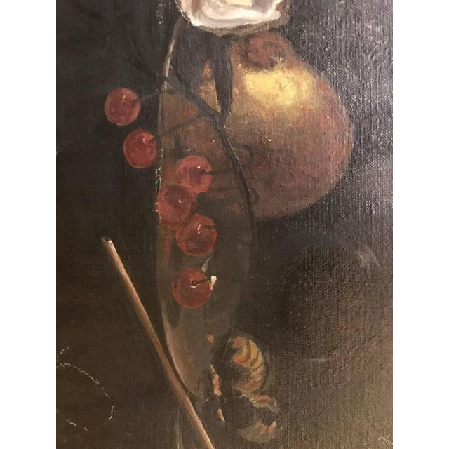 19th Century Oil on Canvas Still Life Signed with Label in an Ebony & Gilt Frame For Sale - Image 9 of 10