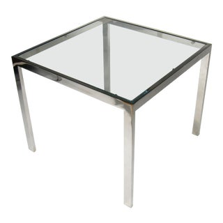 1970s Mid Century Modern Chrome and Glass Square Table