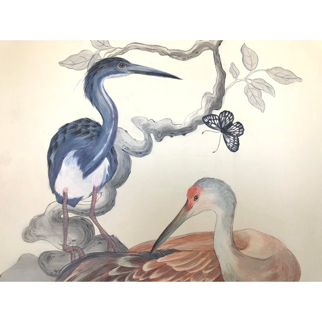 """Chinoiserie Chinoiserie Style Bird Painting, """"Long Time No Sea"""" For Sale - Image 3 of 8"""