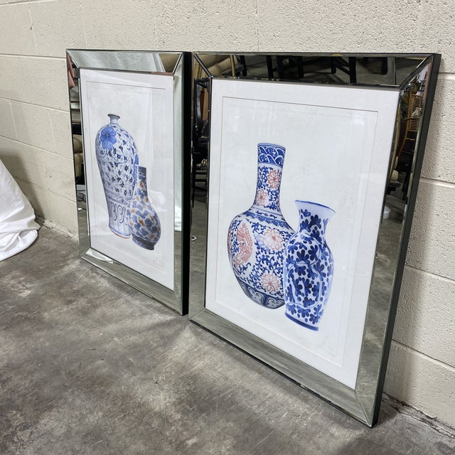 Chinese Mirrored Frame Ginger Jar Prints - - a Pair For Sale - Image 3 of 11