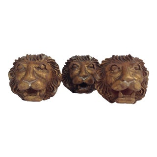 Plaster Gilt Gold Leaf Lion Heads -Set of 3 For Sale