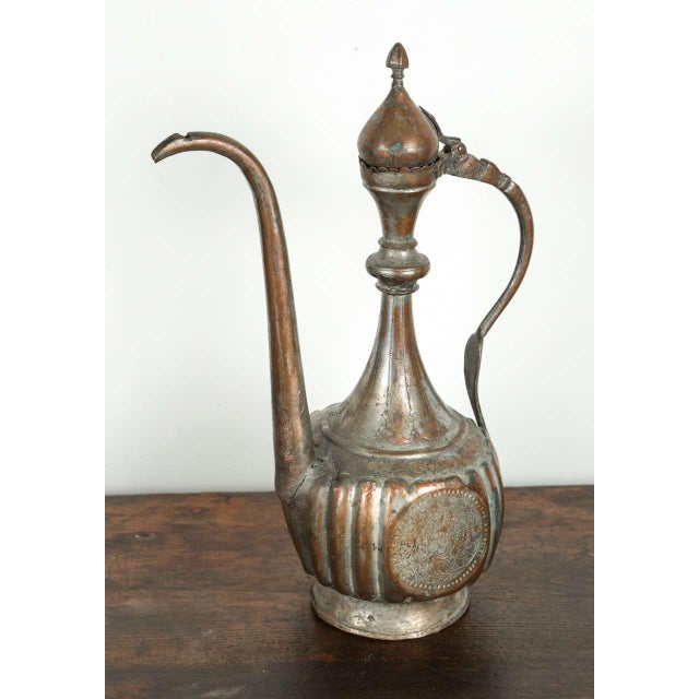 Antique 19th Century Middle Eastern Persian Tinned Copper Ewer For Sale - Image 9 of 9