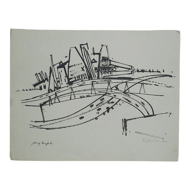 "Original Modernist Drawing by American Artist-Robert Knipschild-""JerseyTurnpike""-Signed/Dated ""1954"" For Sale"