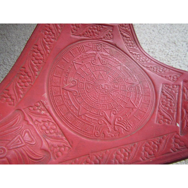 Vintage Mexican Craft Mid Century Red Leather Stool - Image 4 of 11