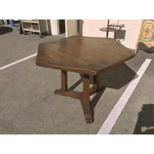 Country Rustic Oak Center Table For Sale - Image 3 of 10