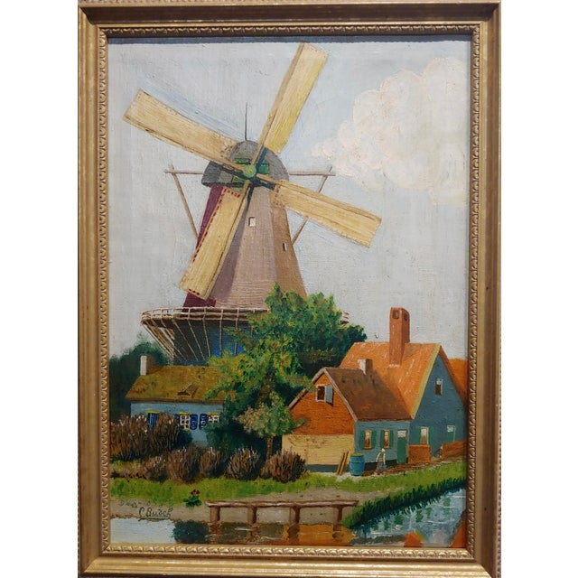 """C. Busch - Beautiful Dutch Windmill - Oil painting oil painting on canvas - Signed circa 1910s frame size 11 x 15"""" canvas..."""