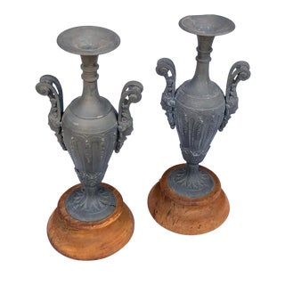 An Elegant Pair of French Louis XVI Style Double-Handled Spelter-Metal Urns For Sale