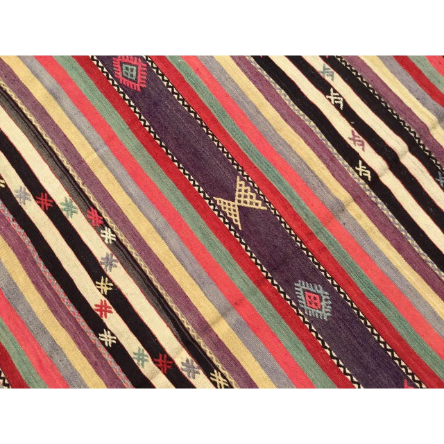 Vintage Striped Turkish Kilim Rug For Sale In Raleigh - Image 6 of 11