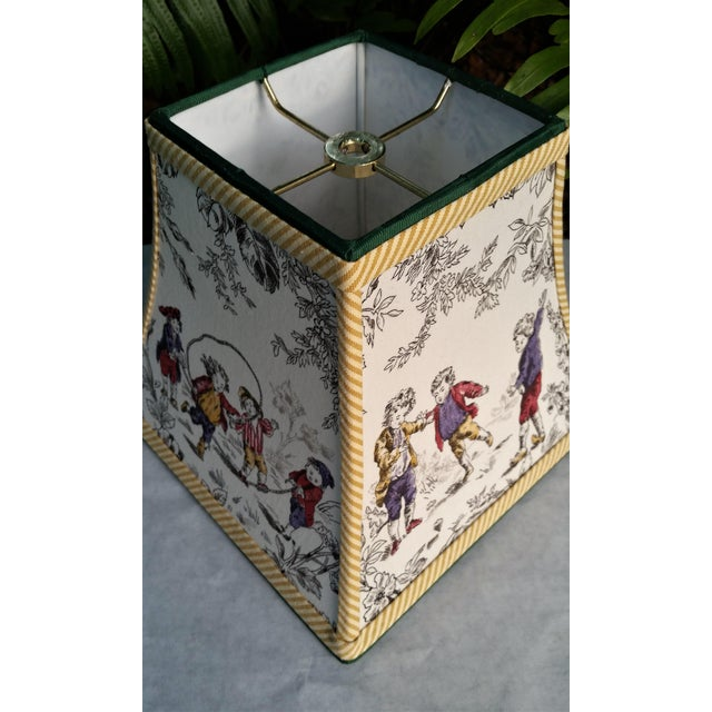 French Country Toile Lampshade French Country Square Bell For Sale - Image 3 of 11